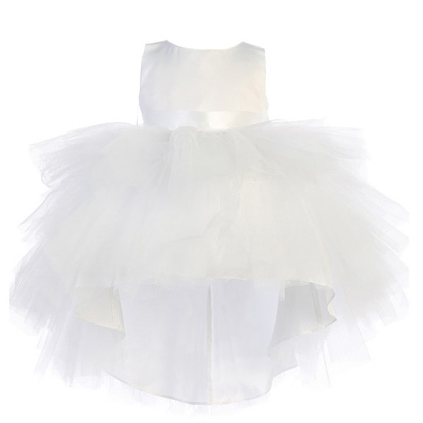 Baby Girls White Hi-Low Multi Level Ruffle Tutu Flower Girl Dress