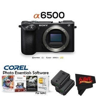 Sony Alpha a6500 Mirrorless(Body Only) + NP-FW50 Replacement Lithium Ion Battery Bundle (Intl Model) (4 options available)