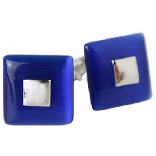 Riveting Blue Fiber Optic Glass Cufflinks