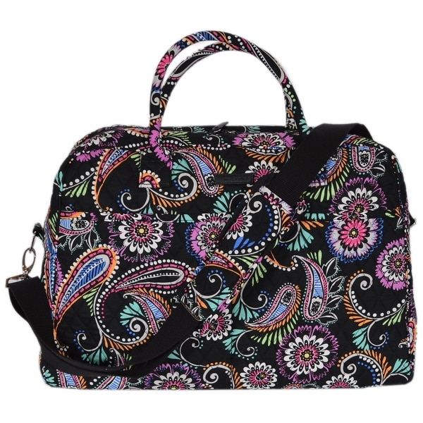 Vera Bradley BANDANA SWIRL Print Cotton Weekender Duffle Travel Bag Purse f179ad479f