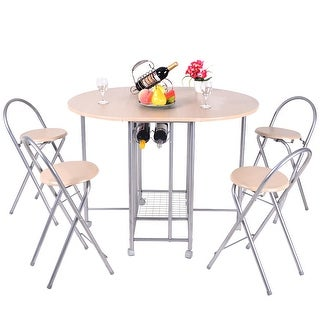 Costway 5PC Foldable Dining Set Table and 4 Chairs Breakfast Kitchen Furniture