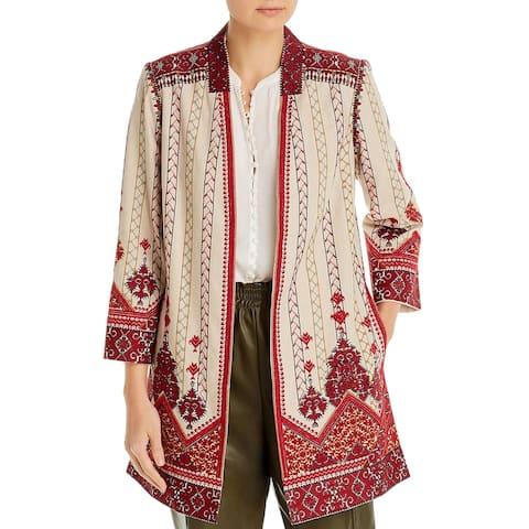 Kobi Halperin Womens Lexy Coat Linen Blend Embroidered - Shell Multi