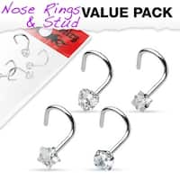 4 Pcs Value Pack of Assorted Clear Prong Set CZ Gem 316L Surgical Steel Nose Screw