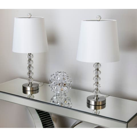 """21"""" Metal & Genuine Crystal Accent Lamp W/ Linen Drum Shade"""
