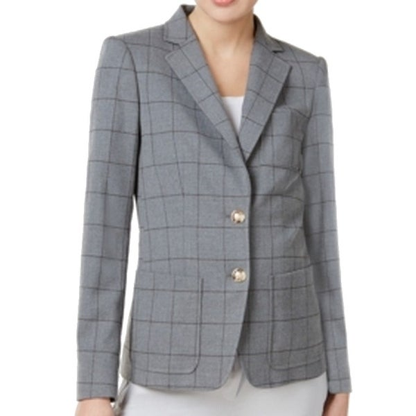 19e33112 Shop Tommy Hilfiger NEW Gray Women Size 0 Notch-Collar Classic Plaid Blazer  - Free Shipping Today - Overstock - 20719649