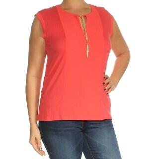 Womens Orange Cap Sleeve Keyhole Top Size L