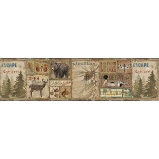 Brewster TLL01592B Attitash Brown Deer Camp Border Wallpaper
