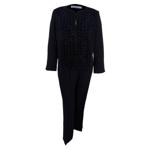 Tahari ASL Women's Petite Laser-Cut Pantsuit - Black