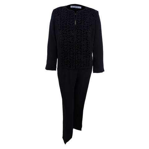Tahari ASL Women's Plus Size Laser-Cut Pantsuit - Black