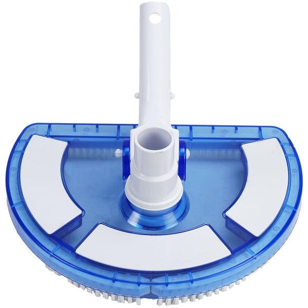 "10.5"" White and Blue Deluxe Half Moon Vinyl Liner Swimming Pool Vacuum Head - N/A"