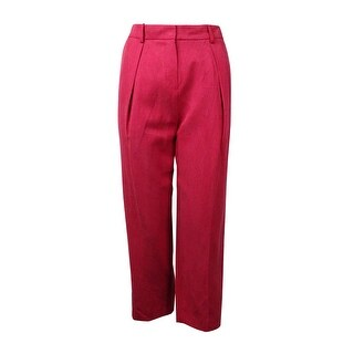 Anne Klein Women's Pleated Linen Blend Cropped Pants - Barn Red