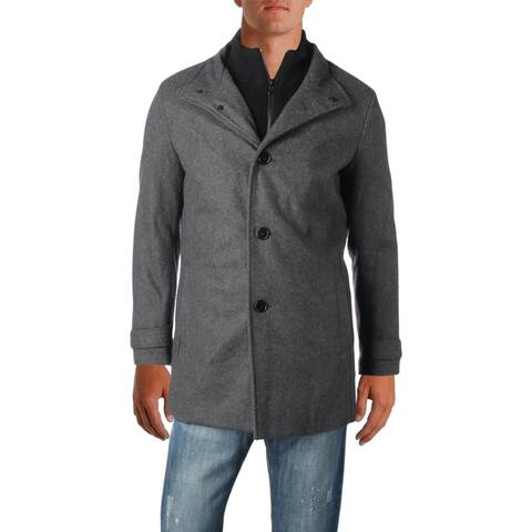 Kenneth Cole New York Mens Car Coat Winter Wool Blend - Charcoal - S