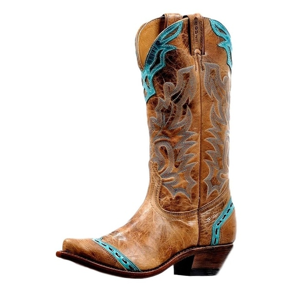 Boulet Western Boots Womens Snip Embroidered Damasko Turqueza