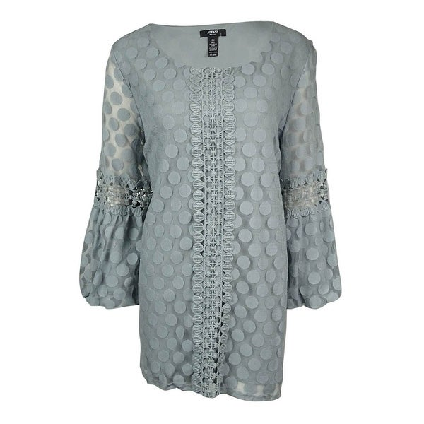 1c34be701a2aa Shop Alfani Women s Lace Dot Crochet Trim Peasant Blouse - Free ...
