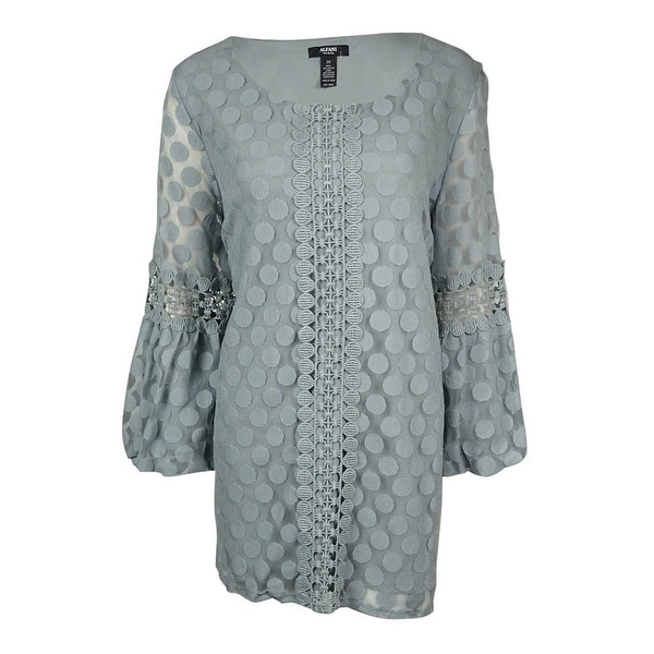 Alfani Women's Lace Dot Crochet Trim Peasant Blouse