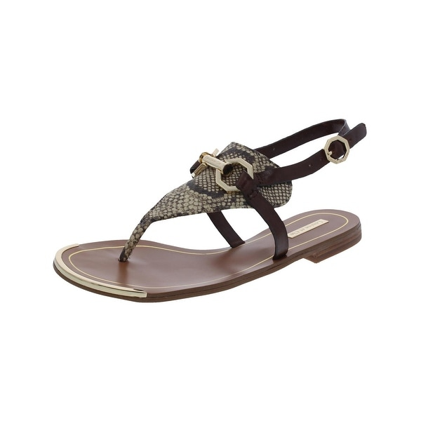 Louise Et Cie Womens Rissa Flat Sandals Snake Print Thong Brown 5.5 Medium (B,M) - 5.5 medium (b,m)