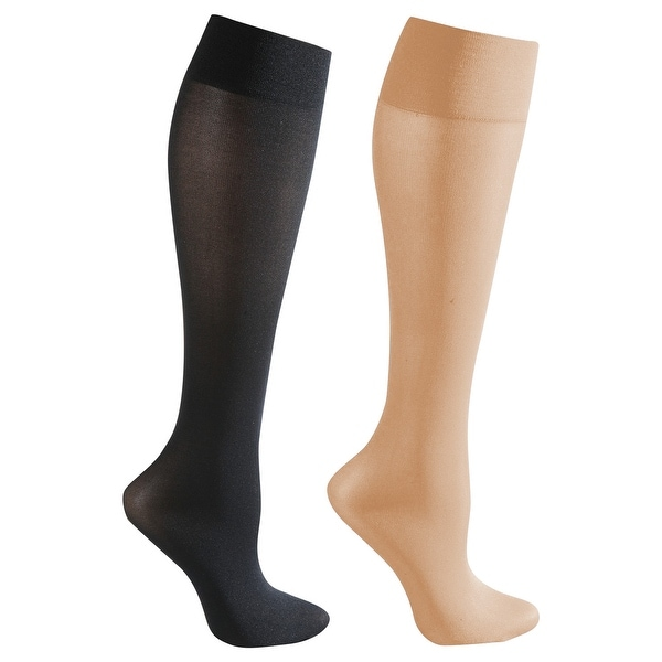 Mild Support 2 Pair Knee High Trouser Socks with 8-15 mmHg Compression - Nude/Black - Medium