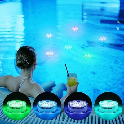 Underwater Swimming Pool Led Lights IR Remote 10-LED RGB Waterproof Battery (Not Included) Pond Lights for Pond Garden Party