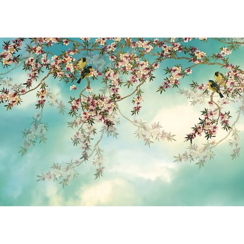 "Brewster 8-213 Sakura 145"" x 100"" Botanical Non-Pasted Repositionable - Blue"
