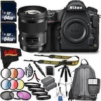 Nikon D850 DSLR Camera (Body Only) 1585 International Model + Sigma 50mm f/1.4 EX DG HSM Lens for Nikon F Bundle