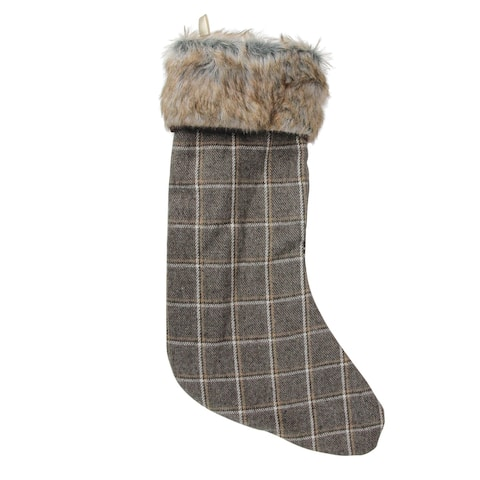 "17.5"" Brown and Beige Plaid Christmas Stocking with Faux Fur Cuff"