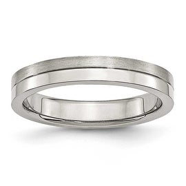 Stainless Steel 4mm Brushed & Polished Band