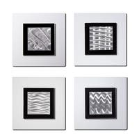 Statements2000 White/Silver Metal Wall Art Accent Sculpture by Jon Allen (Set of 4) - 4 Squares White