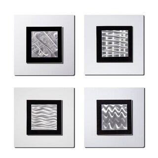 Statements2000 Set of 4 White/Silver Metal Wall Art Accents by Jon Allen - 4 Squares White