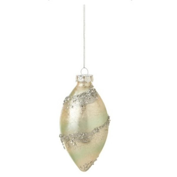 Pastel Dreams Elegant Pale Mint Green and Pearlescent Spiral Sequin Encrusted Pendant Christmas Ornament 5""