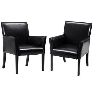 Costway Set of 2 PU Leather Guest Chairs Reception Side Arm Chairs Upholstered Wood Leg