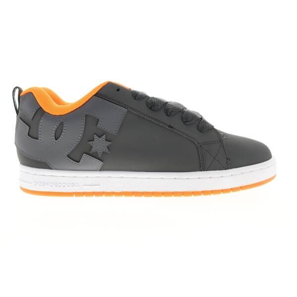 DC Court Graffik Dark Grey Orange Mens Athletic Skate Shoes - Overstock -  31574418