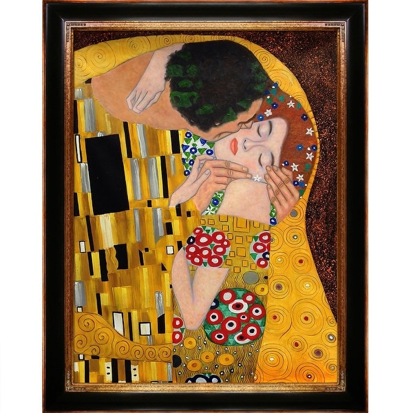 The Kiss by Gustav Klimt Metallic Embellished Framed Hand Painted Oil on Canvas