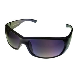 Perry Ellis Mens Sunglass PE12-4 Black Plastic Wrap, Smoke Gradient Lens - Medium