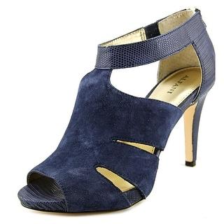 Alfani Otta Women Open-Toe Leather Blue Heels