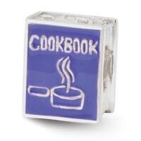 Sterling Silver Reflections Purple Enameled Cookbook Bead (4mm Diameter Hole)