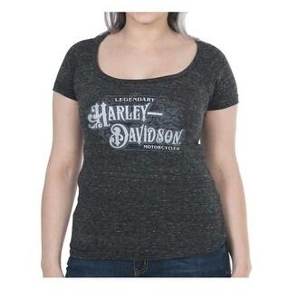 Harley-Davidson Women's Spectacular Metallic Short Sleeve Raw-Edge Tee, Onyx