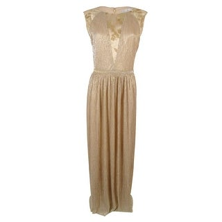 Tahari Women's Sequined Metallic Lace Trim Gown
