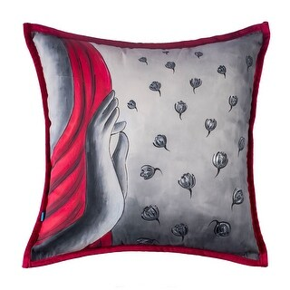 100% Handmade Imported Meditation Throw Pillow Cover, Grey and Red