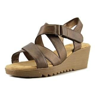 Aerosoles Handbog Women W Open Toe Leather Bronze Wedge Sandal