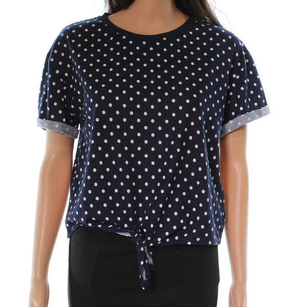 ELODIE Blue White Polka Dot Women's Size Large L Tie Front Blouse