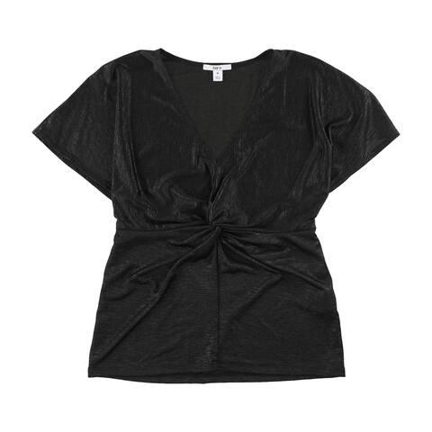 Bar Iii Womens Twist Front Basic T-Shirt