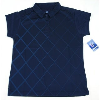 PGA TOUR Women's Polo Shirt - Navy Checkered - Medium