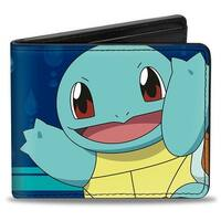 Squirtle Pose + Text Stripe Water Drops Blues Turquoise White Bi Fold Wallet - One Size Fits most