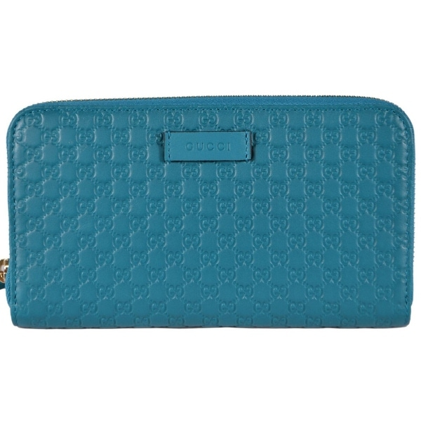 92cd03f343e661 Gucci Women's 449391 Cobalt Leather Micro GG Guccissima Zip Around  Wallet -