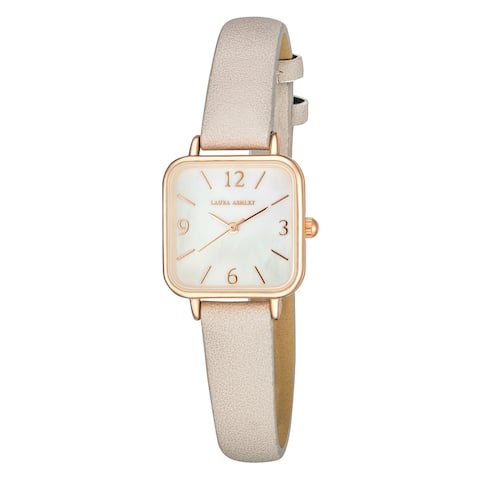 Laura Ashley Women's Square Case 24mm Vegan Leather Strap Watch