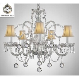 Swarovski Crystal Trimmed Crystal Chandelier Lighting With White Shades & Crystal Balls
