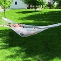 Sunnydaze 2-Person Polyester Rope Hammock with Spreader Bars, Natural, 450 Pound - Thumbnail 3