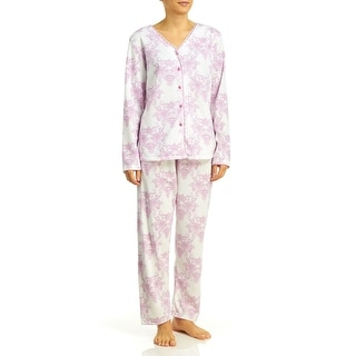 Body Touch Women's Brushed Back Print Pajamas - Plus Size