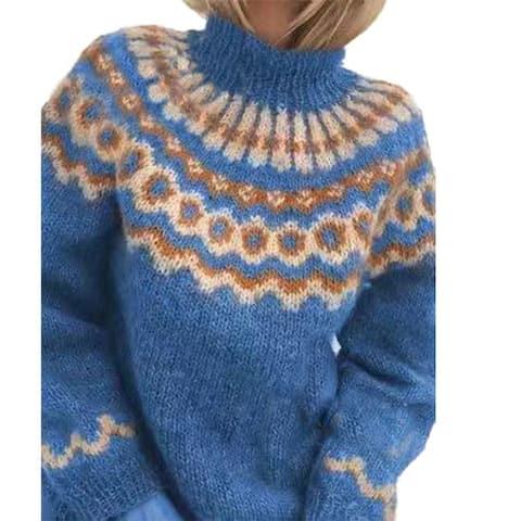 Women Turtle Neck Autumn Jacquard Weave Long Sleeve Jumper Pullover Knit Sweater