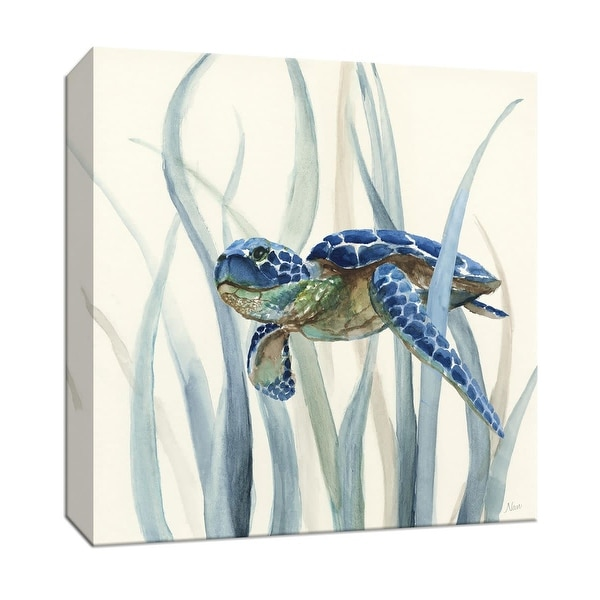 "PTM Images 9-147585 PTM Canvas Collection 12"" x 12"" - ""Turtle in Seagrass II"" Giclee Sea Animals Art Print on Canvas"